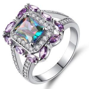 Purple Emerald Cut Ring CZ 18k White Gold